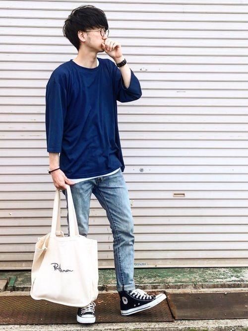 春の高校生男子ファッション カットソー×デニム×スニーカー (1)